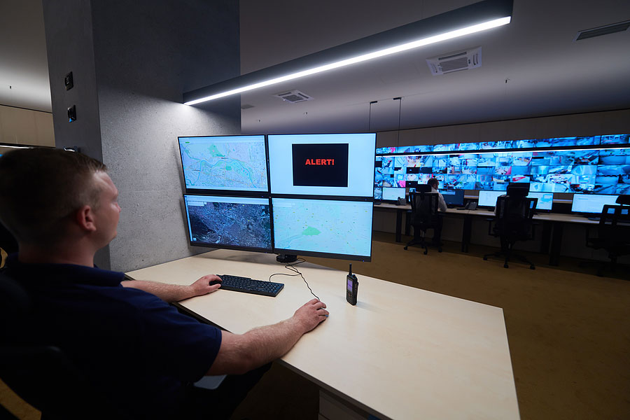 security officer monitoring screens